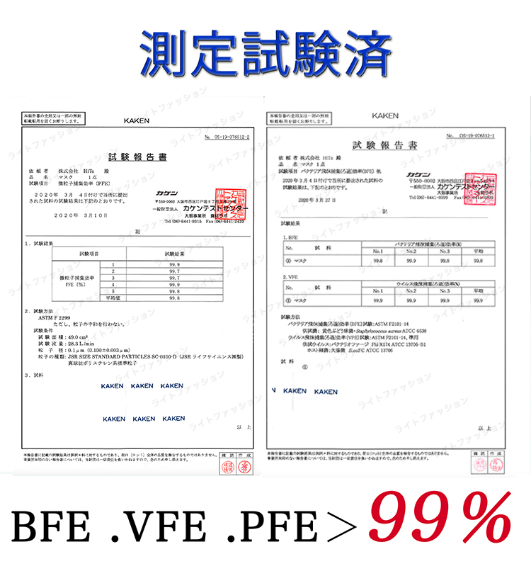 ライトファッション 日本製不織布使い捨てマスク 測定試験