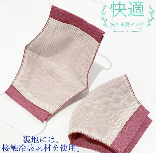 THE RIDEA 接触冷感素材・洗える布マスク(2枚セット) 裏地