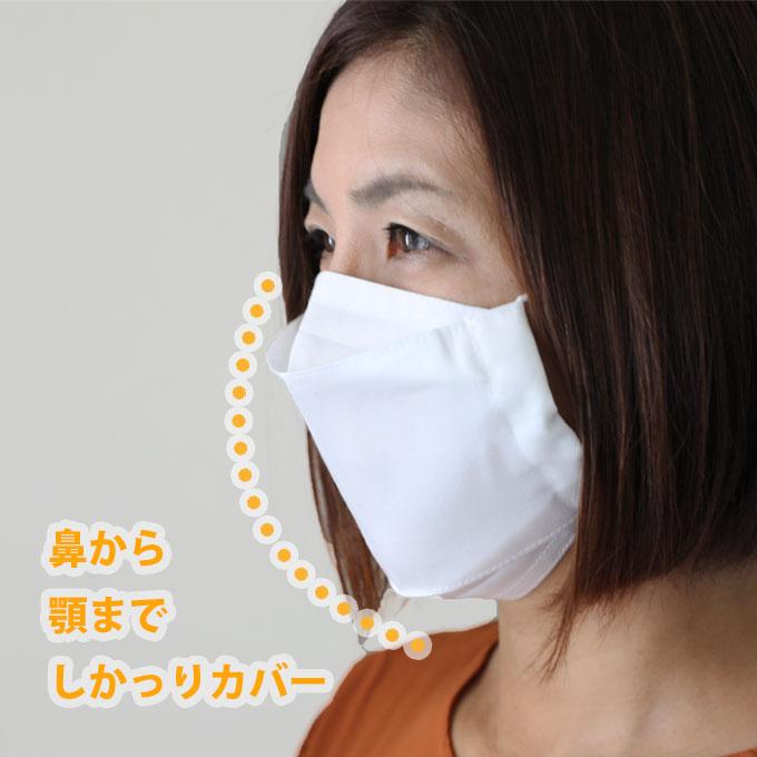 抗ウィルス加工クレンゼ生地でできた布マスク 鼻から顎までしっかりカバー